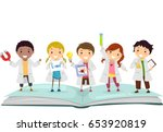 illustration of stickman kids... | Shutterstock .eps vector #653920819