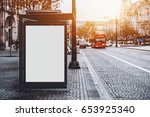 white empty information mock up ... | Shutterstock . vector #653925340