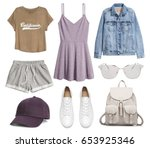 a set of fashionable clothes... | Shutterstock . vector #653925346