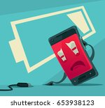 sad unhappy tired smart phone... | Shutterstock .eps vector #653938123