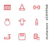 set of 9 fitness outline icons... | Shutterstock .eps vector #653939968