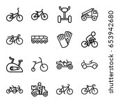bicycle icons set. set of 16... | Shutterstock .eps vector #653942680