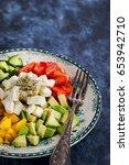 fresh delicious tomato  bell... | Shutterstock . vector #653942710