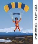 sky diving happy smiling... | Shutterstock .eps vector #653942866