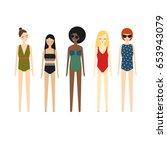 cute girls in bikini set on... | Shutterstock .eps vector #653943079