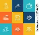 set of 9 budget outline icons... | Shutterstock .eps vector #653944333
