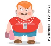 sporty man jogger listening... | Shutterstock .eps vector #653944414
