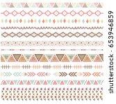 rustic tribal borders elements   Shutterstock .eps vector #653946859