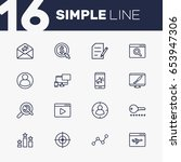 set of 16 search outline icons... | Shutterstock .eps vector #653947306