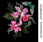 embroidery bright trend floral... | Shutterstock .eps vector #653948014