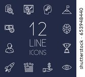 set of 12 idea outline icons... | Shutterstock .eps vector #653948440