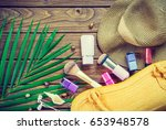 beauty and traveling concept.... | Shutterstock . vector #653948578