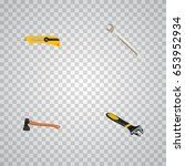 realistic spanner  wrench ... | Shutterstock .eps vector #653952934