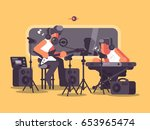 sound recording studio with... | Shutterstock .eps vector #653965474