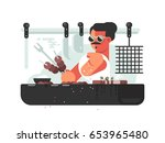 man cooking barbecue on grill. | Shutterstock .eps vector #653965480