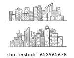 cartoon hand drawing city.... | Shutterstock .eps vector #653965678