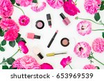 fashion blogger desk with... | Shutterstock . vector #653969539