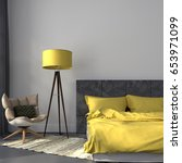 3d illustration. modern bedroom ... | Shutterstock . vector #653971099
