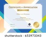 modern certificate of... | Shutterstock .eps vector #653973343
