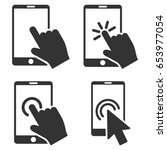 mobile phone and hand pointer... | Shutterstock .eps vector #653977054