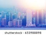 hong kong skyline. | Shutterstock . vector #653988898