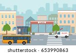 city life illustration with... | Shutterstock .eps vector #653990863