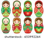 Vector Matryoshka Set In Red...