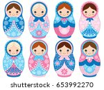 Vector Matryoshka Set In Blue...