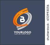 b letter logo runway circle... | Shutterstock .eps vector #653993056