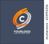 c letter logo runway circle... | Shutterstock .eps vector #653993356