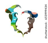 gemini zodiac sign  vector... | Shutterstock .eps vector #653999434