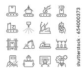 manufacturing line icon set.... | Shutterstock .eps vector #654000373