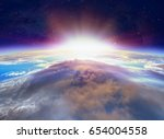 planet earth with a spectacular ... | Shutterstock . vector #654004558