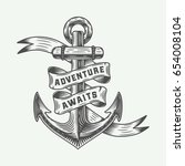vintage anchor in retro style... | Shutterstock .eps vector #654008104