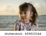 portrait of little girl with a... | Shutterstock . vector #654015166