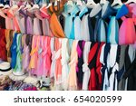 colored scarf. colored foulard... | Shutterstock . vector #654020599