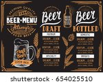 beer menu for restaurant and... | Shutterstock .eps vector #654025510