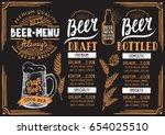 beer menu for restaurant and... | Shutterstock .eps vector #654025510
