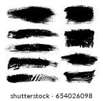 set of black paint  ink brush... | Shutterstock .eps vector #654026098