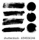 set of black paint  ink brush... | Shutterstock .eps vector #654026146