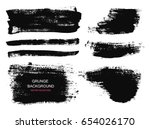 set of black paint  ink brush... | Shutterstock .eps vector #654026170
