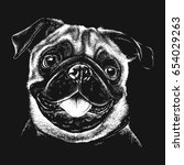 black and white portrait sketch ... | Shutterstock .eps vector #654029263