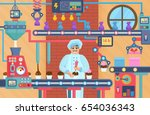 cupcake sweets factory with... | Shutterstock .eps vector #654036343