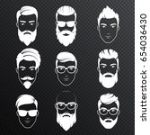 set of vector bearded hipster...