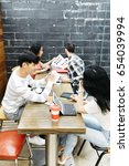 group of friends studying and... | Shutterstock . vector #654039994