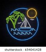 sunny summer. neon pattern... | Shutterstock .eps vector #654041428