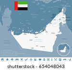 united arab emirates map and... | Shutterstock .eps vector #654048043