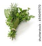 fresh bouquet garni  bunch of... | Shutterstock . vector #654049570