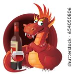 red dragon and red wine....   Shutterstock .eps vector #654050806