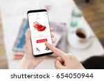 add to cart red shoes on online ... | Shutterstock . vector #654050944